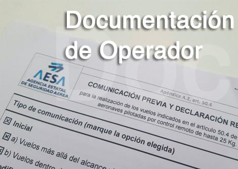 documentación de operador de drones